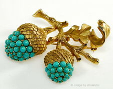 VTG 50'S CROWN TRIFARI DIMENSIONAL TURQUOISE GLASS ACORN BROOCH PIN
