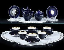 Russian Imperial Lomonosov Porcelain Tea Set Night 6/14 22k Gold Cobalt Service