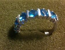 BEAUTIFUL STERLING SILVER LADIES BAND/RING WITH  CZ STONES SZ  6 1/2  ((129))