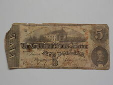 Civil War Confederate 1863 5 Dollar Bill Richmond Virginia Paper Money Currency