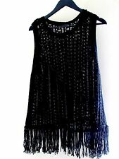 Quality Primark Atmosphere Crochet Knit Style Sweater Jumper Top with Fringe