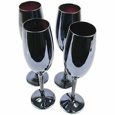Set Of 4 Black Lustre Champagne Glasses 300ml Babycham Wedding Drinks Flutes New