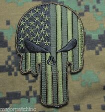 PUNISHER SKULL USA AMERICAN FLAG TACTICAL ARMY MORALE BADGE FOREST VELCRO PATCH