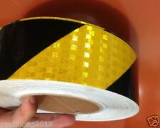 """Black Yellow Reflective Safety Warning Conspicuity Tape Film Stickers 2""""X10' 3M"""