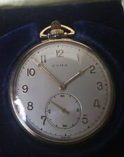 CYMA 10K RGP SWISS POCKET WATCH IN ORIGINAL BOX VERY UNIQUE !!!