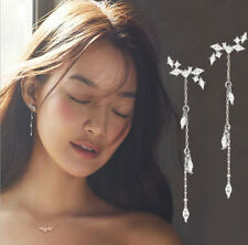 Fashion Long Korean Style Silver Plated Tassel Leaves Cubic Zircon Stud Earring