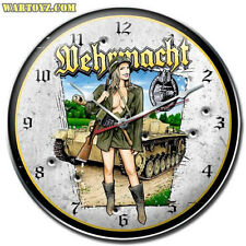"""Wehrmacht Fraulein"" German Military Pin-Up Girl Clock - Past Time Signs SPI011"