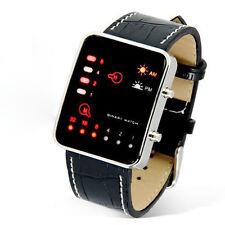 Digitale Rosso A LED Orologio da polso Binario finta pelle PU Donna uomo Stile