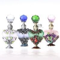Antique Crystal Metal Perfume Bottles Handmade Empty Refillable Lady Gifts 8ml