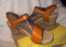 NIB Dansko Burnt Orange/ Tangerine TASHA Sandals Pumps Wedge Clogs Eu 42 US 11+