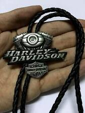 Harley Davidson Twin Cam Engine Motorcycle Leather Cord Tie Cowboy Necklace HTF