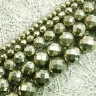 Natural Faceted Iron Pyrite Gemstone Round Loose Beads 6mm 8mm 10mm 15""