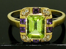 1338- GENUINE 9ct Solid Gold Natural Peridot Amethyst Diamond Ring Suffragette
