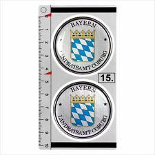 Bayern​​​​ set of 2 German Number Plate Seal Stadt 3D Domed Sticker badge 45mm