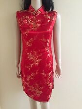 Chinese Traditional Woman Red Short Pencil Dress Wedding,Prom  Gown Sz 38 US 8