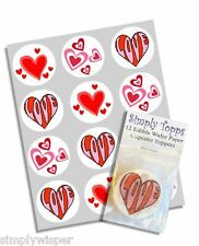 12 Valentines Hearts a Edible Cupcake Decoration Cake toppers love St Valentine