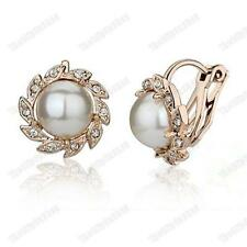 Comfy Clip On Cream Ivory Pearl & Rhinestone Crystal Round Stud Gold Earrings