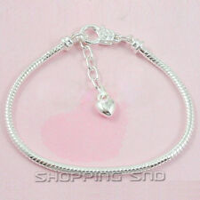 Silver Gold Plated Lobster Clasp Snake Chain Charm Bracelets Fit European Beads