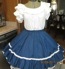 S-SB-#3-2 PIECE SQUARE DANCE DRESS ,WHITE AND NAVY BLUE