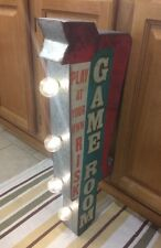 GAME ROOM LIGHT SIGN ARCADE GAME METAL VINTAGE LOOK VIDEO PINBALL COIN AMUSEMENT
