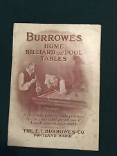Rare Vintage Burrowes Pool Table Catalog  and framed artwork