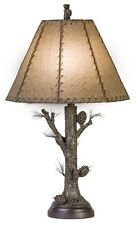 "Pinecone Rustic Table Lamp Rawhide Shade Pine Tree Bark Base Cabin Lodge  - 31""H"