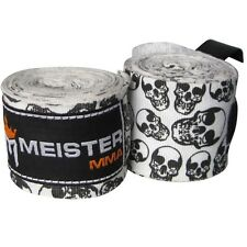 "DEATH SKULLS 180"" ELASTIC HAND WRAPS Meister MMA Cotton Boxing Wraps Mexican NEW"