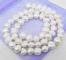 freshwater white genuine baroque Pearl Loose gem stone 7-8mm