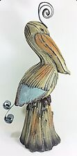 Pelican on post Rustic Hand Painted Figurine Sea life Decor