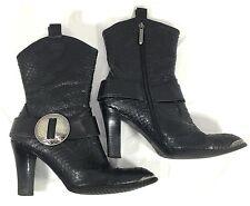 Donald J Pliner Sport ALLY ankle Boots western Black Leather Sankeskin Sz 8.5 M