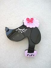 Delightful Pink & Black Lucite? 'Fifi' French Poodle Brooch