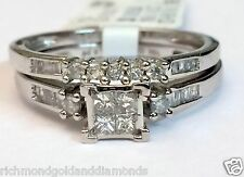 10k White Gold Quad Princess Cut Diamond Bridal Wedding Engagement Ring Set Band