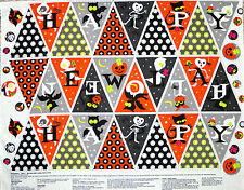 """35"""" FABRIC BUNTING PANEL  FLAG CRAFT COTTON  DIRECTIONS INCLUDED HALLOWEEN  BATS"""