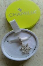 Genuine Chamilia silver clear pave snowflake bracelet charm 2025-1222 in box