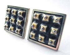 Anton Michelsen Royal Copenhagen Sterling Porcelain Cufflinks~1950s~Sculptural