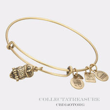 Authentic Alex and Ani Ode To The Owl Rafaelian Gold Charm Bangle CBD
