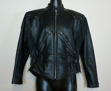 Harley Davidson Women Leather Motorcycle Bike Jacket XS Fringe Tassel