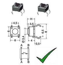 2pz Micropulsante 4pin 6,0x6,0mm H=7,0mm da circuito stampato miniaturizzato
