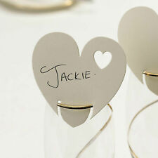 10 IVORY HEART WINE GLASS Table PLACE CARDS Name Setting Wedding Decorations