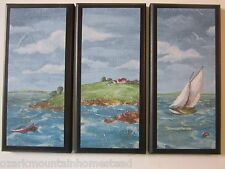 Ocean Sailboat wall decor plaques 3 pictures handmade signs blue water nautical