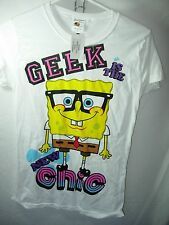 WOMENS JUNIORS NEW WHITE GEEK IS THE NEW CHIC HUMOR CASUAL T SHIRT TOP SIZE M 32