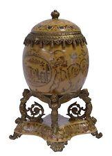 Deckelvase Vase in Ei Form Porzellan Bronze Eiform mit Füßchen  H: 27,5 cm