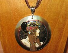 UNIQUE hand painted Black Lip SHELL pendant MUCHA Byzantine Head Brunette GIFT