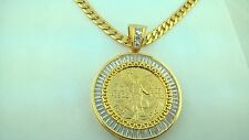 CENTENARIO COIN With Baggete Bezel and Cuban Necklace 50 pesos Mexico