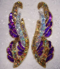 0033 ~ PURPLE GOLD MIRROR PAIR SEQUIN BEADED APPLIQUES