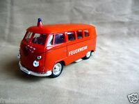 VW BUS Feuerwehr Volkswagen Modellauto Spielzeugauto / Rot  1 : 38 Neu