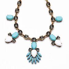 Rose & Peony British Statement Necklace Vintage Golden Faux Zara Coral Blue
