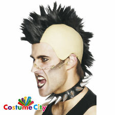 Adulti Nero Mohawk cresta Parrucca Punk-Rocker Costume Accessorio