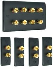 Matt Black 4.0 Slimline Surround Sound Audio AV Speaker Wall Face Plate Kit