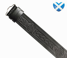 Leather Kilt Belt Adjustable 32' to 48' - Black CELTIC KNOT 4 Embossed Scotland